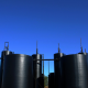 Oil storage tanks at an industrial refinery