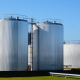 large fiberglass storage tanks in a chemical factory