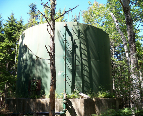 A municipal water storage tank.
